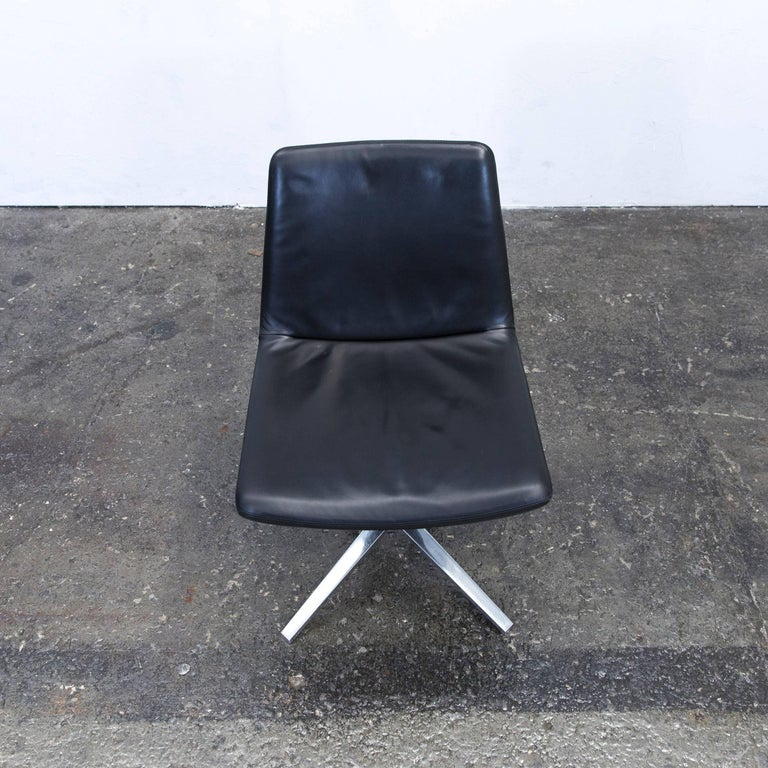 B&B Italia Leather Chair Black Modern Bistro Swiss Air Lounge Zurich Chrome In Good Condition In Cologne, DE