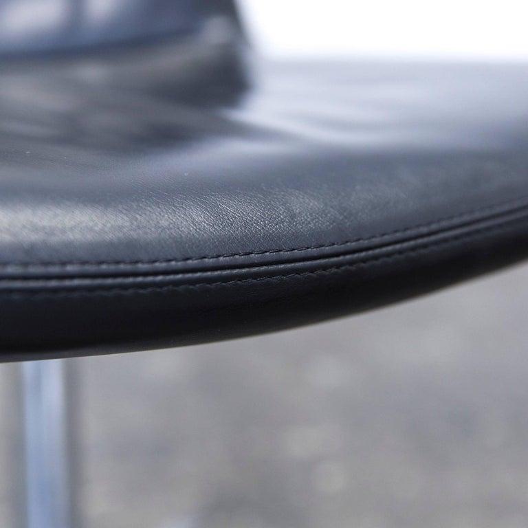 Contemporary B&B Italia Leather Chair Black Modern Bistro Swiss Air Lounge Zurich Chrome