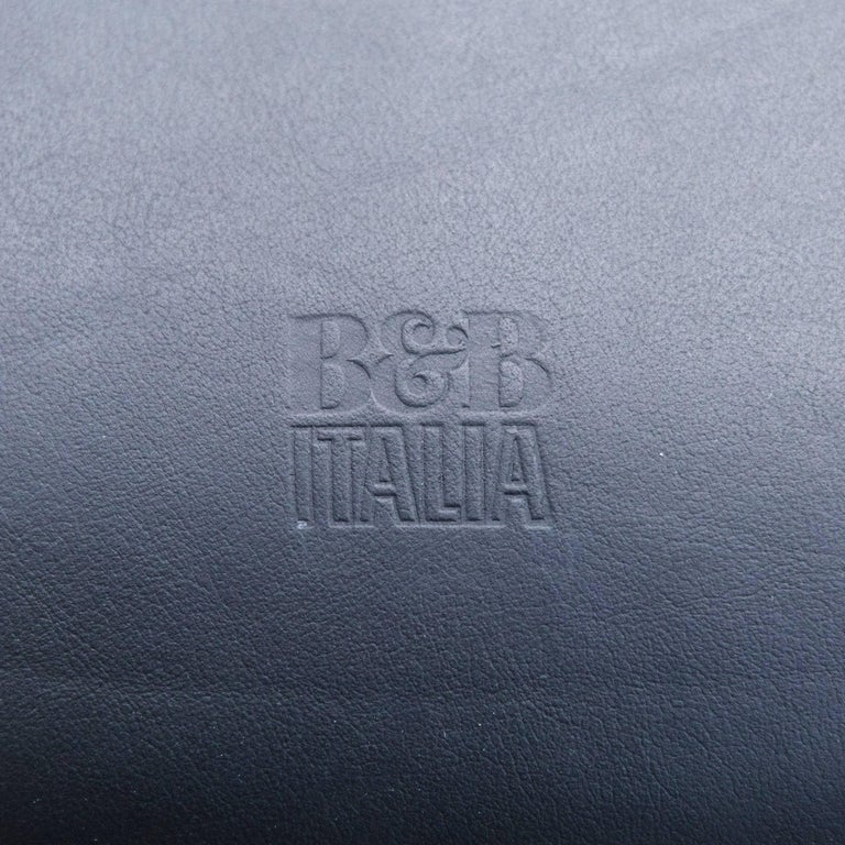 B&B Italia Leather Chair Black Modern Bistro Swiss Air Lounge Zurich Chrome 3