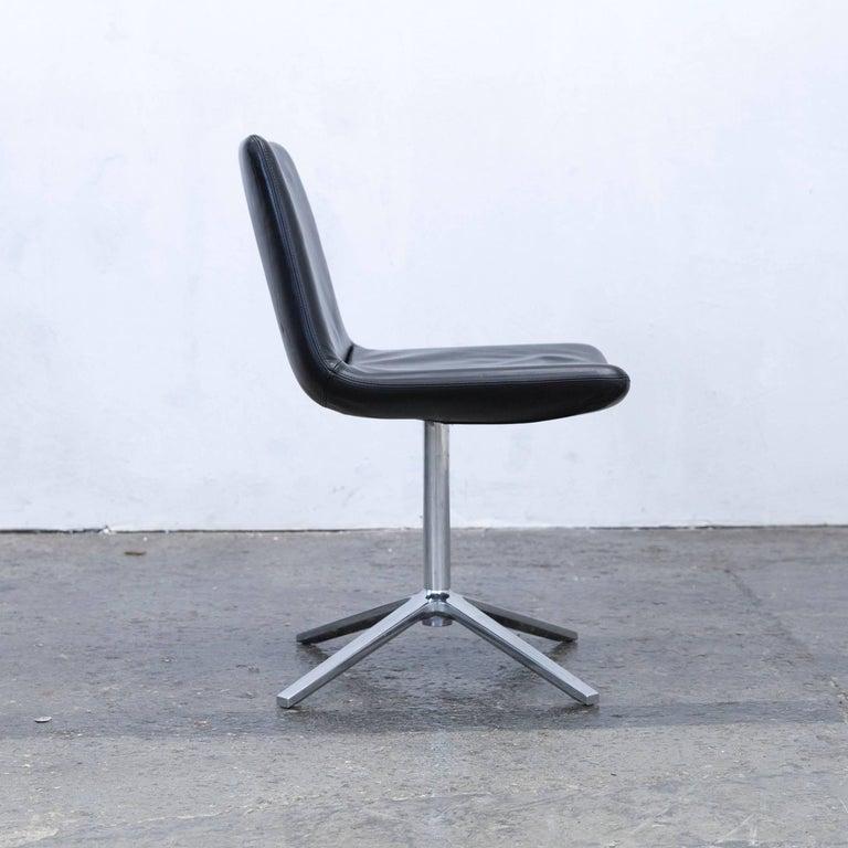 B&B Italia Leather Chair Black Modern Bistro Swiss Air Lounge Zurich Chrome 4