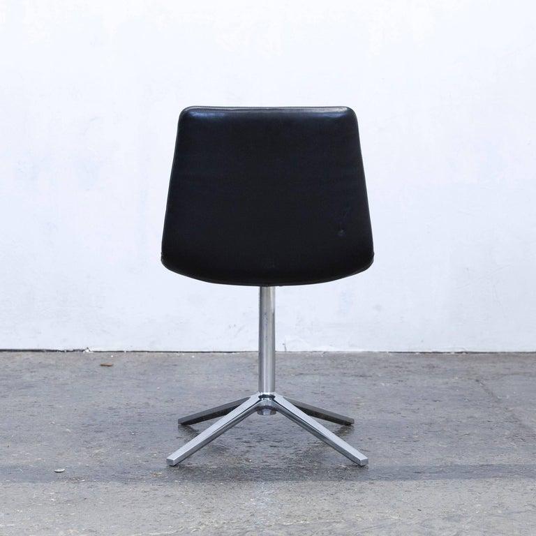 B&B Italia Leather Chair Black Modern Bistro Swiss Air Lounge Zurich Chrome 5