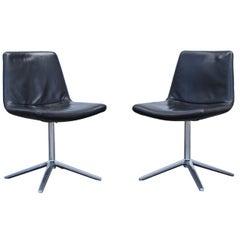 B&B Italia Leather Chair Set Black Modern Bistro Swiss Air Lounge Zurich Chrome