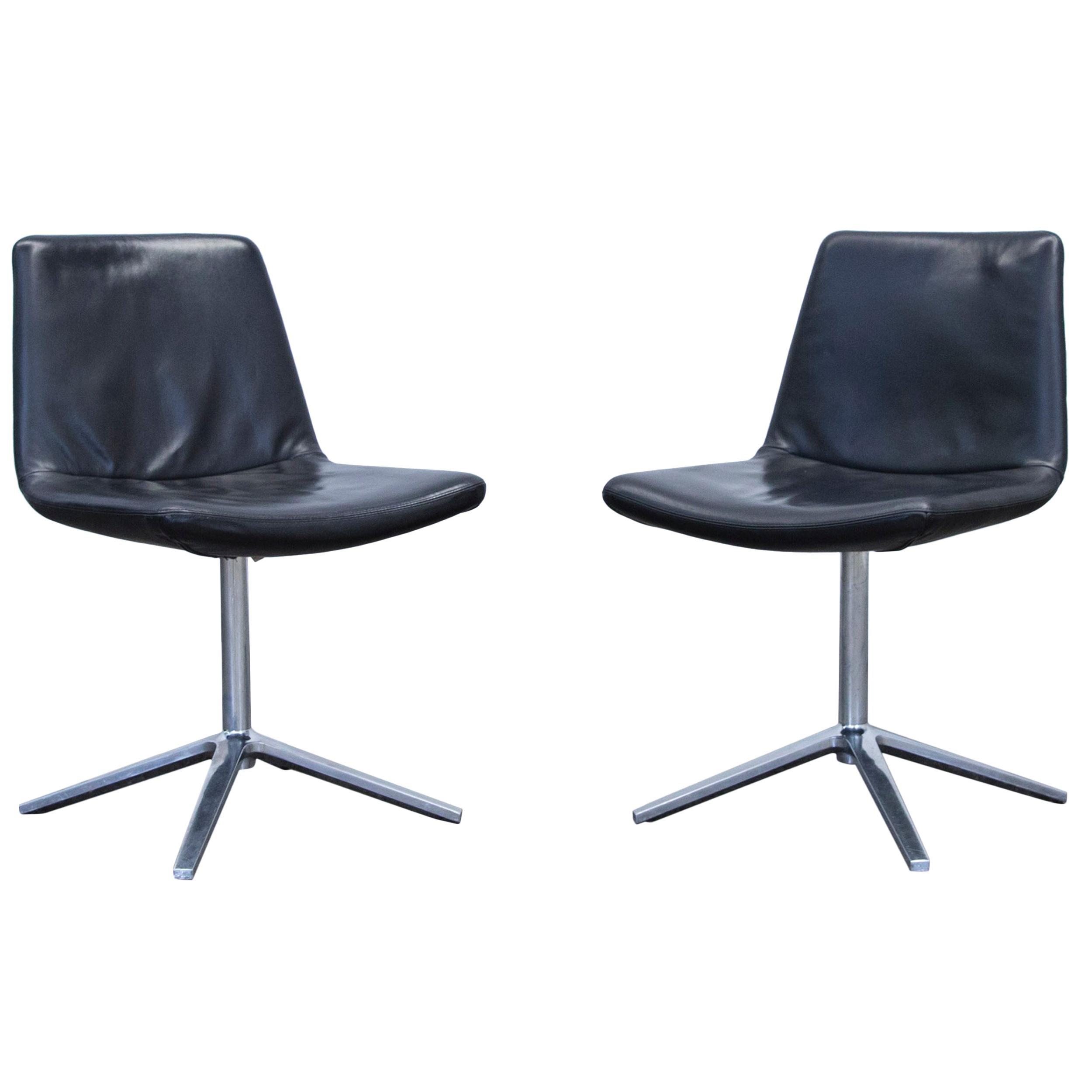 Bu0026B Italia Leather Chair Set Black Modern Bistro Swiss Air Lounge Zurich  Chrome
