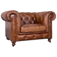 Vintage Brown Chesterfield Leather Armchair Buttoned Club Chair in Brown