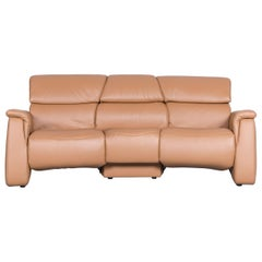 Himolla Designer Sofa Beige Three-Seat Couch Recliner Function