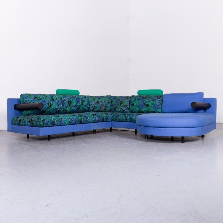 Italian B Italia Sity Fabric Designer Sofa Blue Pattern Look Corner Couch For
