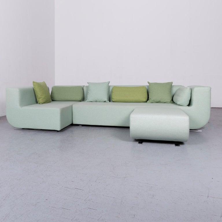 German Cor Nuba Designer Fabric Sofa Green Corner Couch For