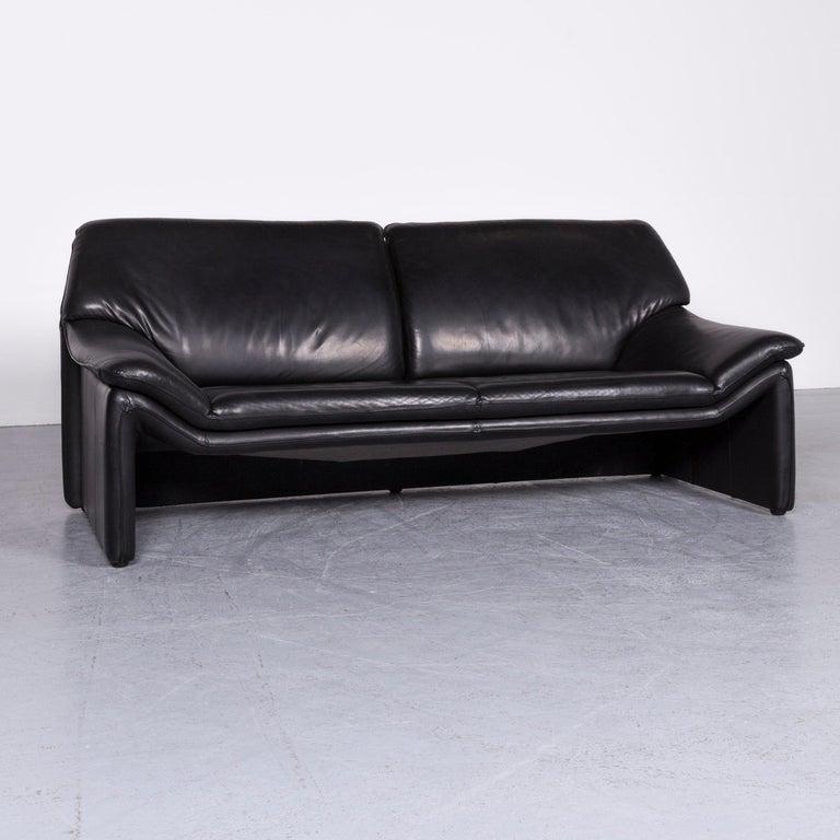 Laauser Atlanta Designer Sofa Armchair Set Leather Black Three Seat Couch Modern In Good Condition