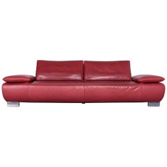 Koinor Volare Designer Sofa Red Three-Seat Leather Couch with Function