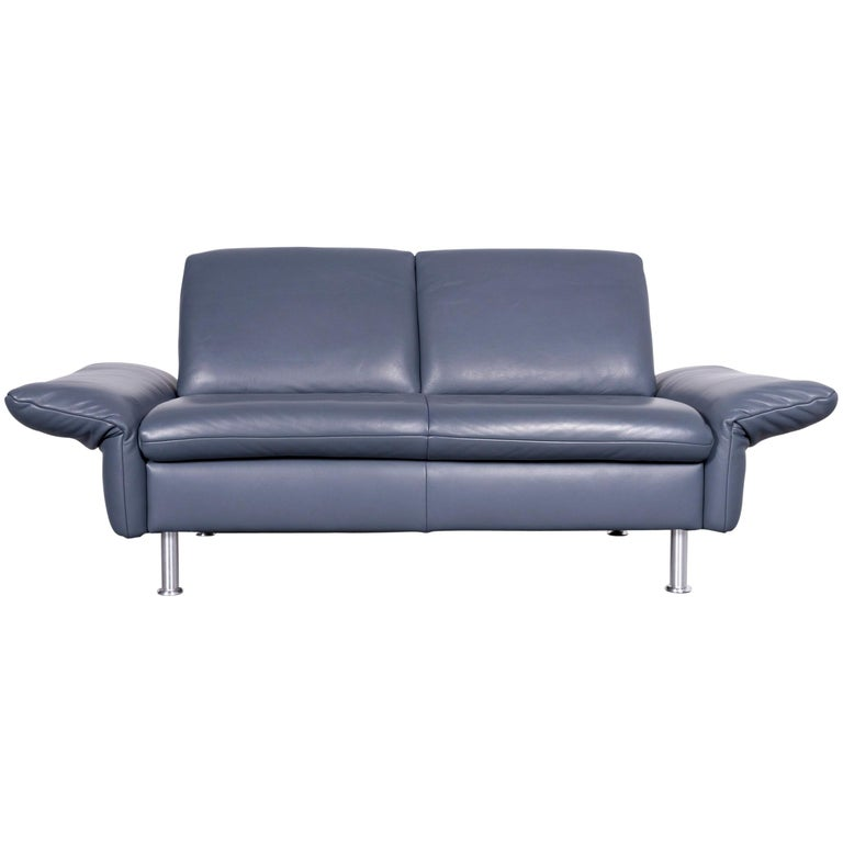 Koinor Designer Two-Seat Sofa Blue Leather Couch