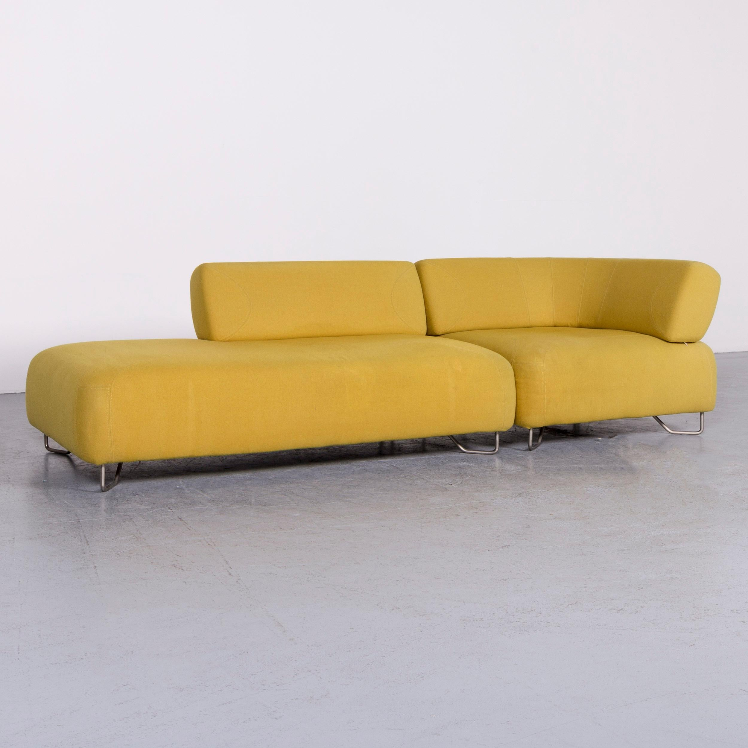 German BoConcept Designer Sofa Yellow Three Seat Couch For Sale