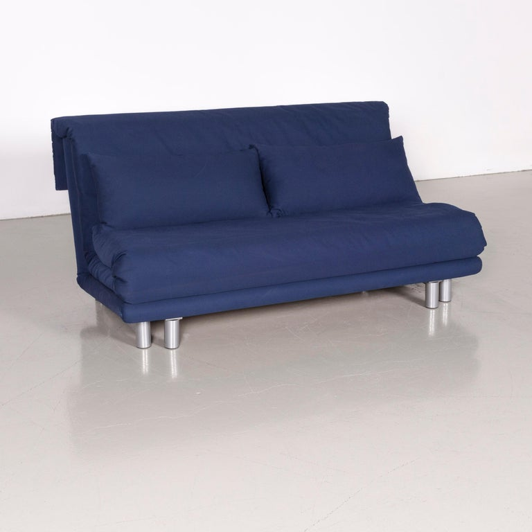 Ligne Roset Multy Fabric Sofa Bed Blue Two Seat Couch Sleep Function
