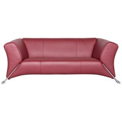 Rolf Benz 322 Designer Sofa Red Two-Seat Leather Couch