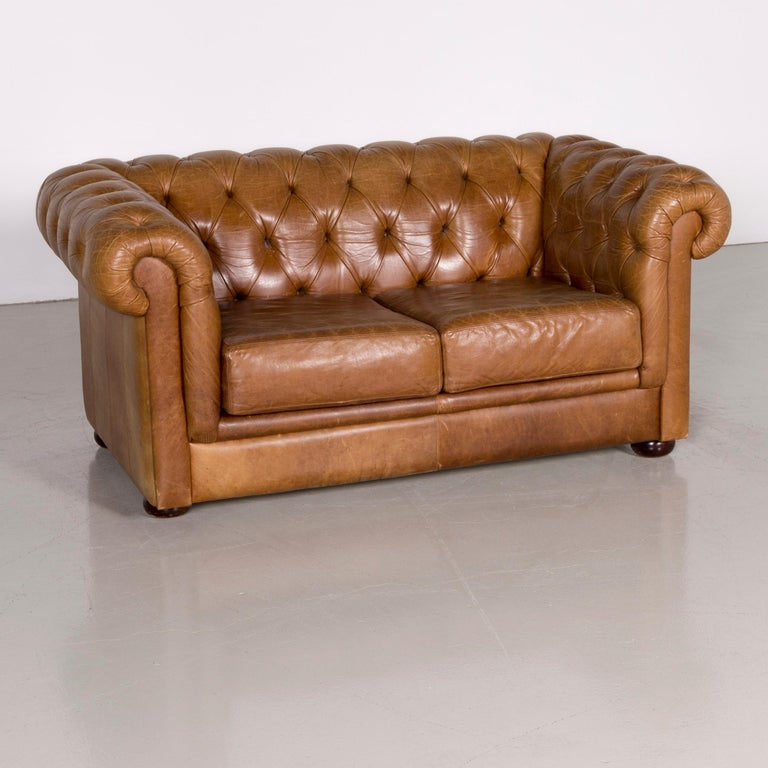 British Chesterfield Leather Sofa Brown Vintage Two Seat Couch For