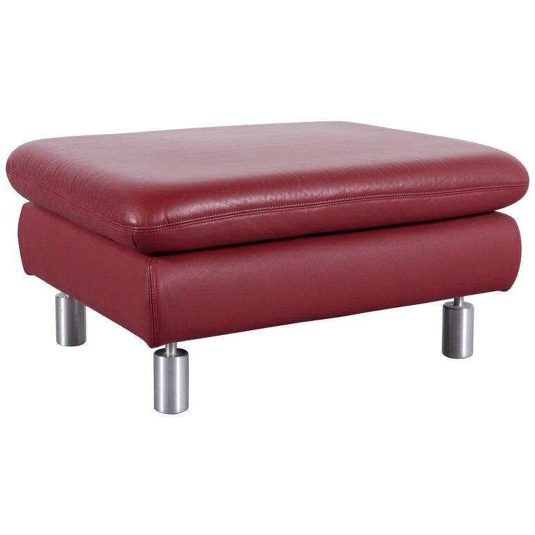 Koinor Rivoli Leather Foot-Stool Red Bench