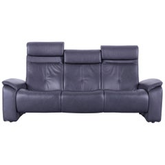 Himolla Leather Sofa Black Three-Seat Couch