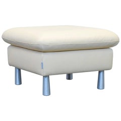 Willi Schillig Loop Designer Footstool Leather Beige One Seat Couch