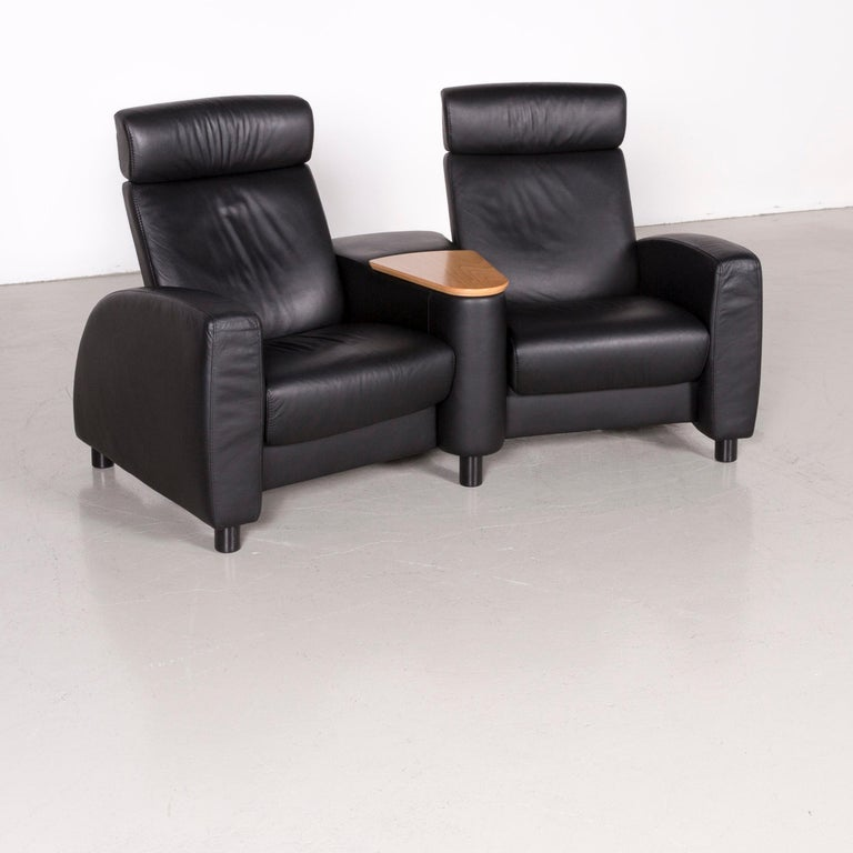 Ekornes Stressless Arion Sofa Black Leather Four Seat Couch With Function