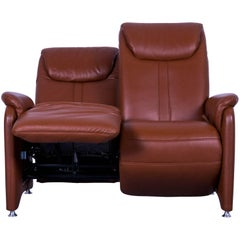 Willy Schillig Designer Leather Sofa Brown Two-Seat Recliner