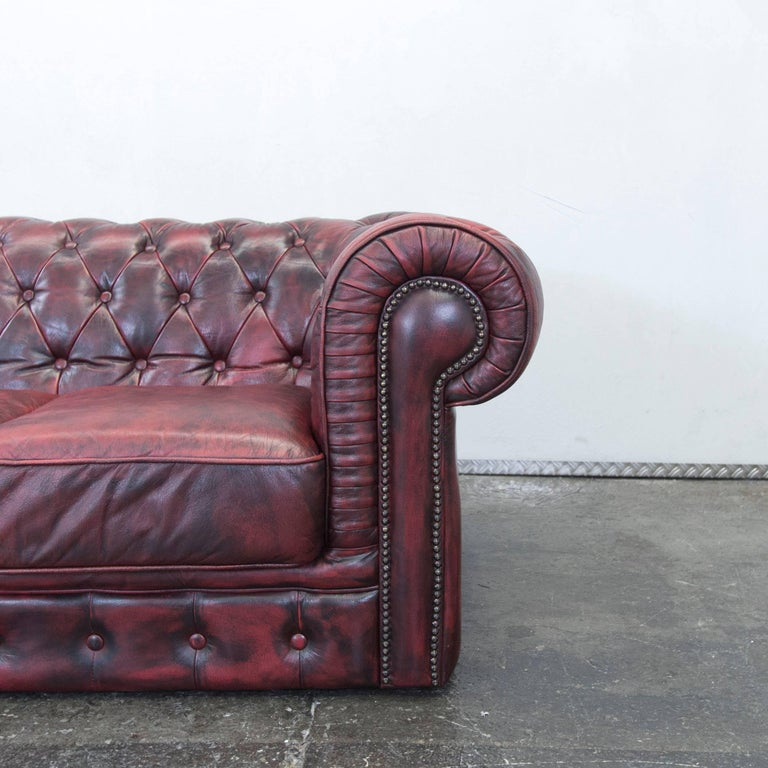 British Chesterfield Designer Leather Sofa Red Three-Seat Couch Vintage Retro