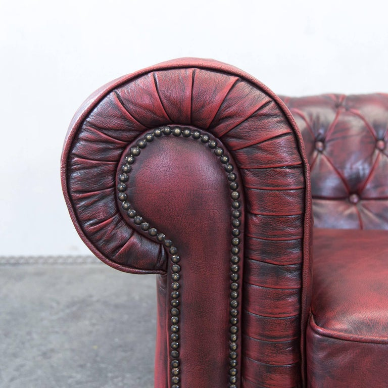 20th Century Chesterfield Designer Leather Sofa Red Three-Seat Couch Vintage Retro