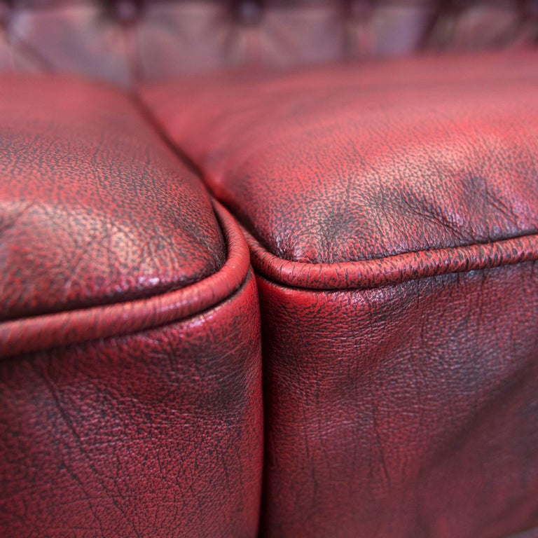 Chesterfield Designer Leather Sofa Red Three-Seat Couch Vintage Retro 1