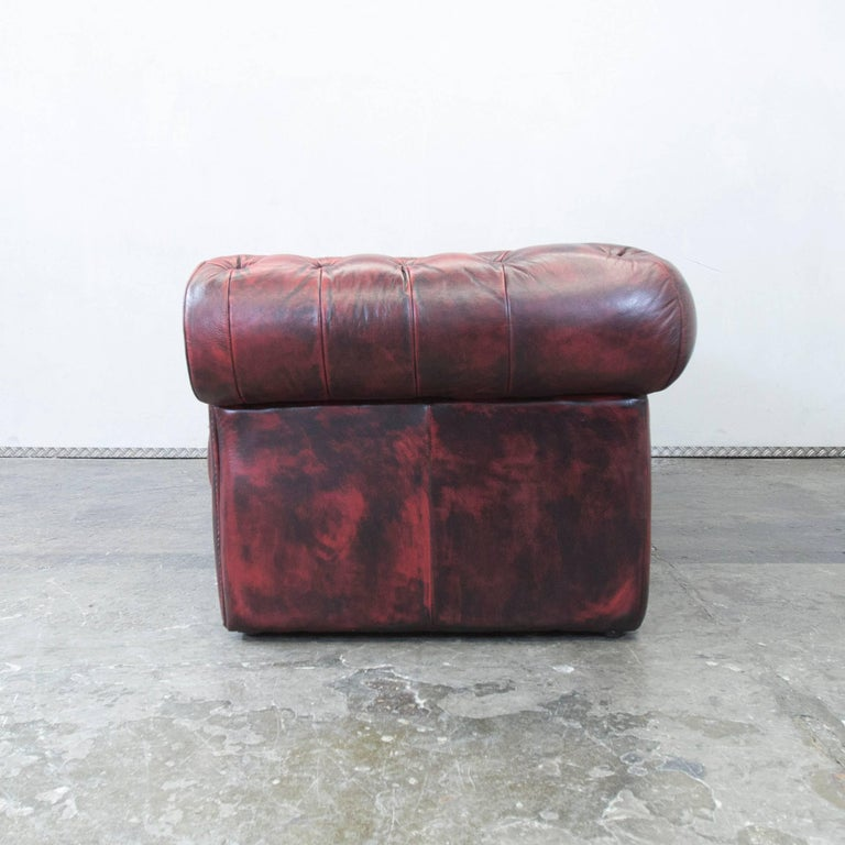 Chesterfield Designer Leather Sofa Red Three-Seat Couch Vintage Retro 2