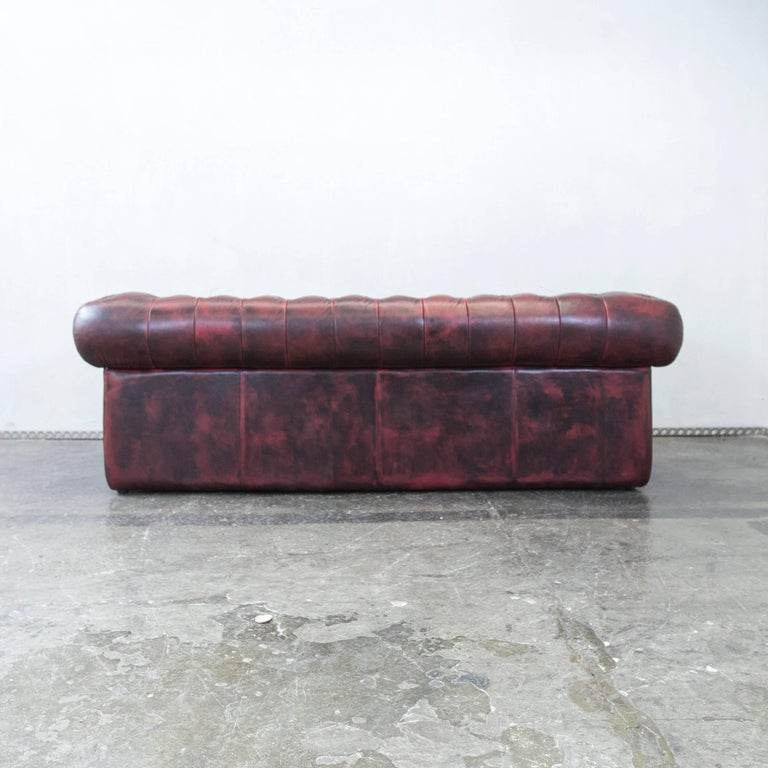 Chesterfield Designer Leather Sofa Red Three-Seat Couch Vintage Retro 3