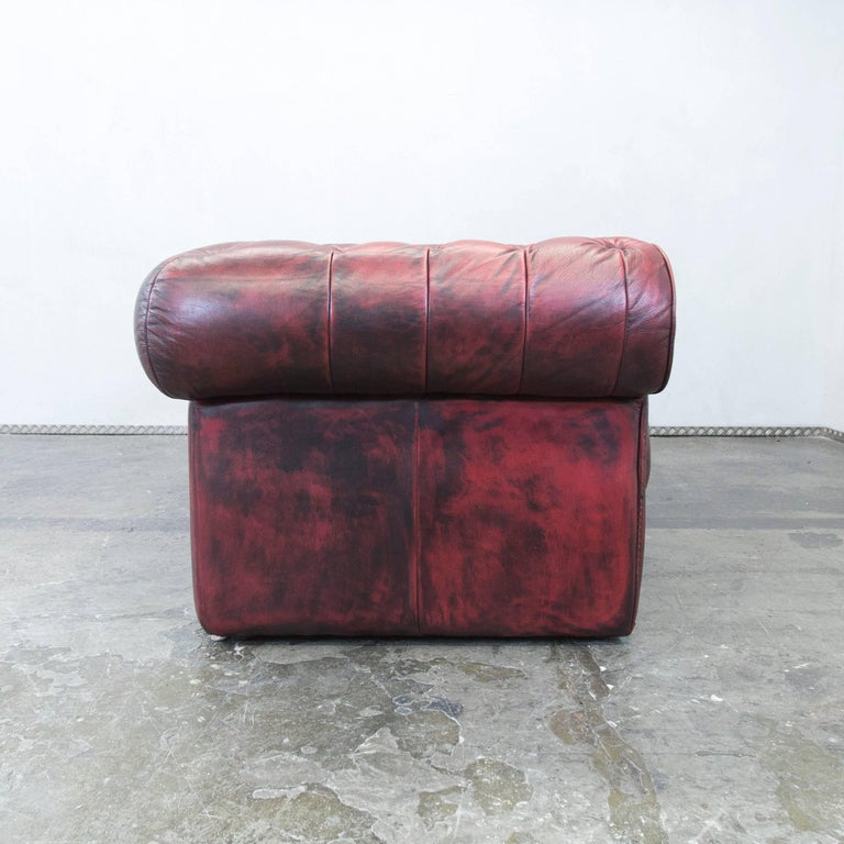 Chesterfield Designer Leather Sofa Red Three-Seat Couch Vintage Retro 4