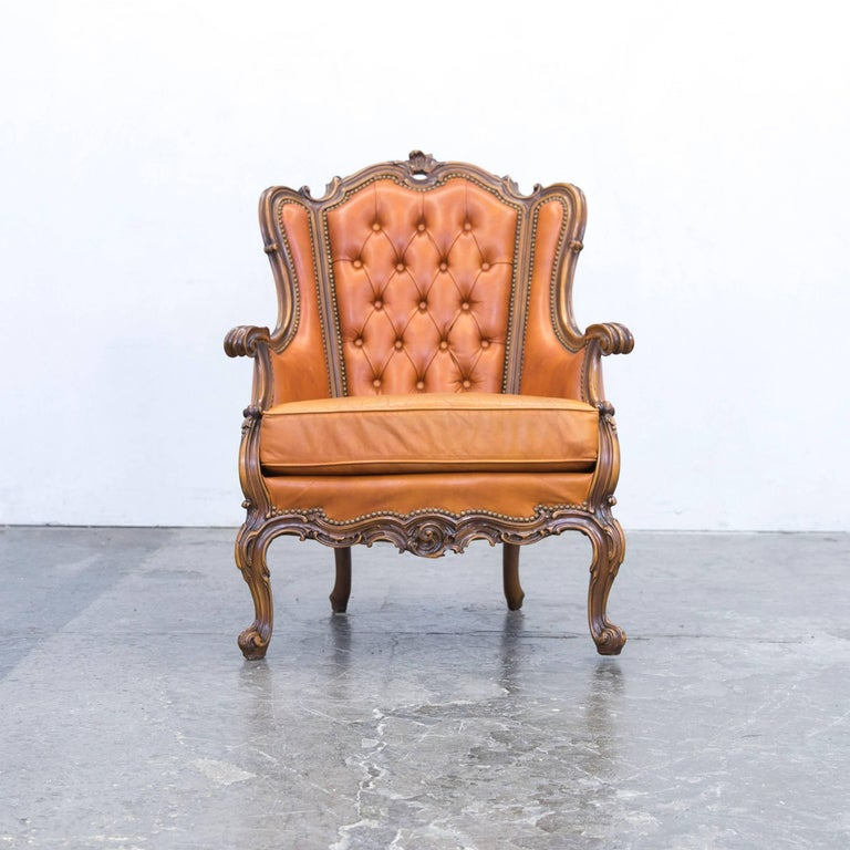 Chesterfield baroque leather armchair cognac brown three for Sessel barock