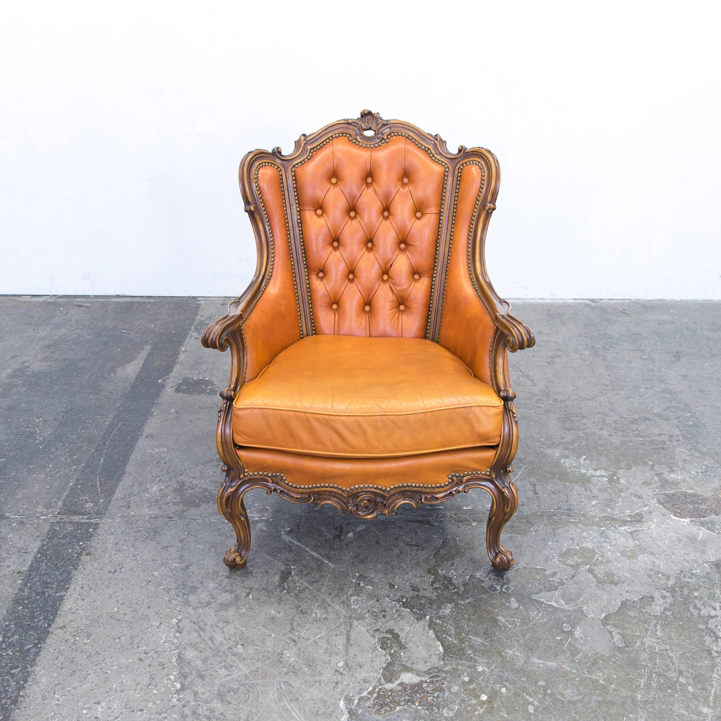 Chesterfield Baroque Leather Armchair Cognac Brown Three Seat Couch