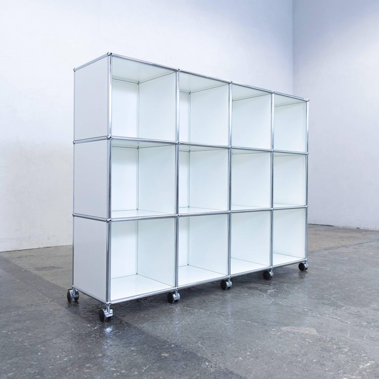 usm haller designer sideboard white wheels office shelf at 1stdibs. Black Bedroom Furniture Sets. Home Design Ideas
