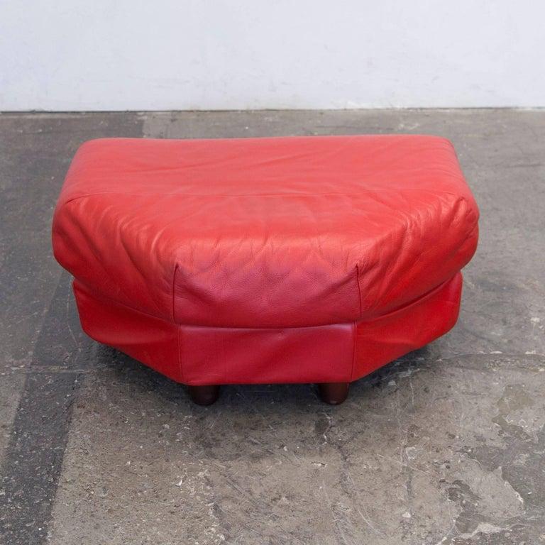 rolf benz designer leather foot stool couch red leather modern for sale at 1stdibs. Black Bedroom Furniture Sets. Home Design Ideas