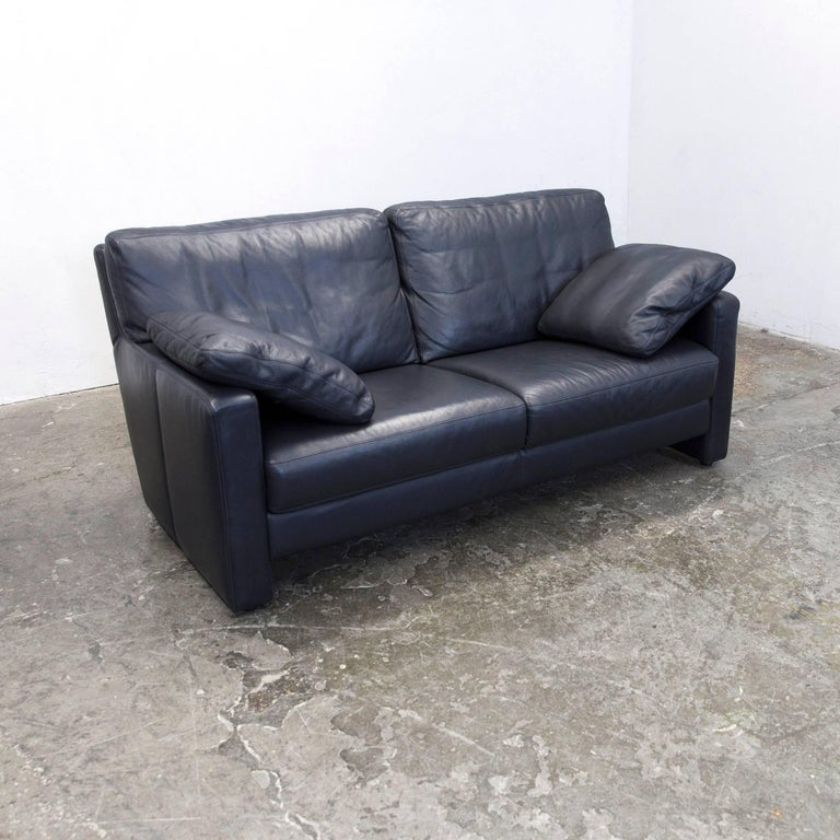 willi schillig designer sofa set chair two seat dark blue leather minimalistic at 1stdibs. Black Bedroom Furniture Sets. Home Design Ideas