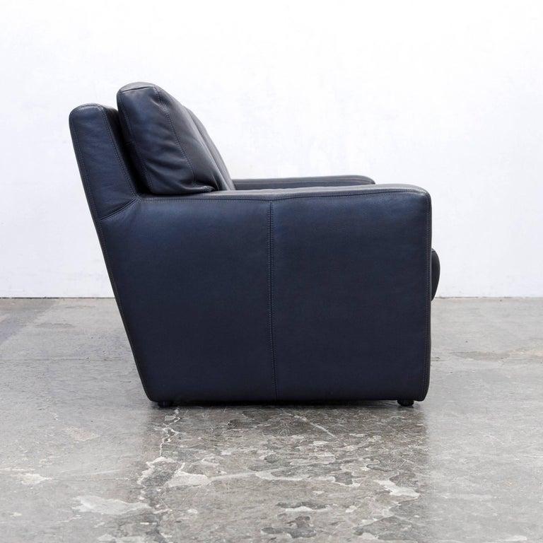 willi schillig designer sofa two seat dark blue leather minimalistic at 1stdibs. Black Bedroom Furniture Sets. Home Design Ideas