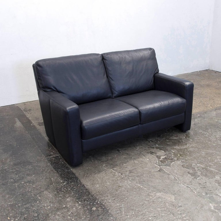 willi schillig designer sofa two seat dark blue leather minimalistic at 1stdibs. Black Bedroom Furniture Sets. Home Design Ideas