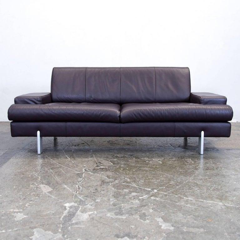 rolf benz designer leather sofa set aubergine lilac purple two seat couch modern for sale at 1stdibs. Black Bedroom Furniture Sets. Home Design Ideas