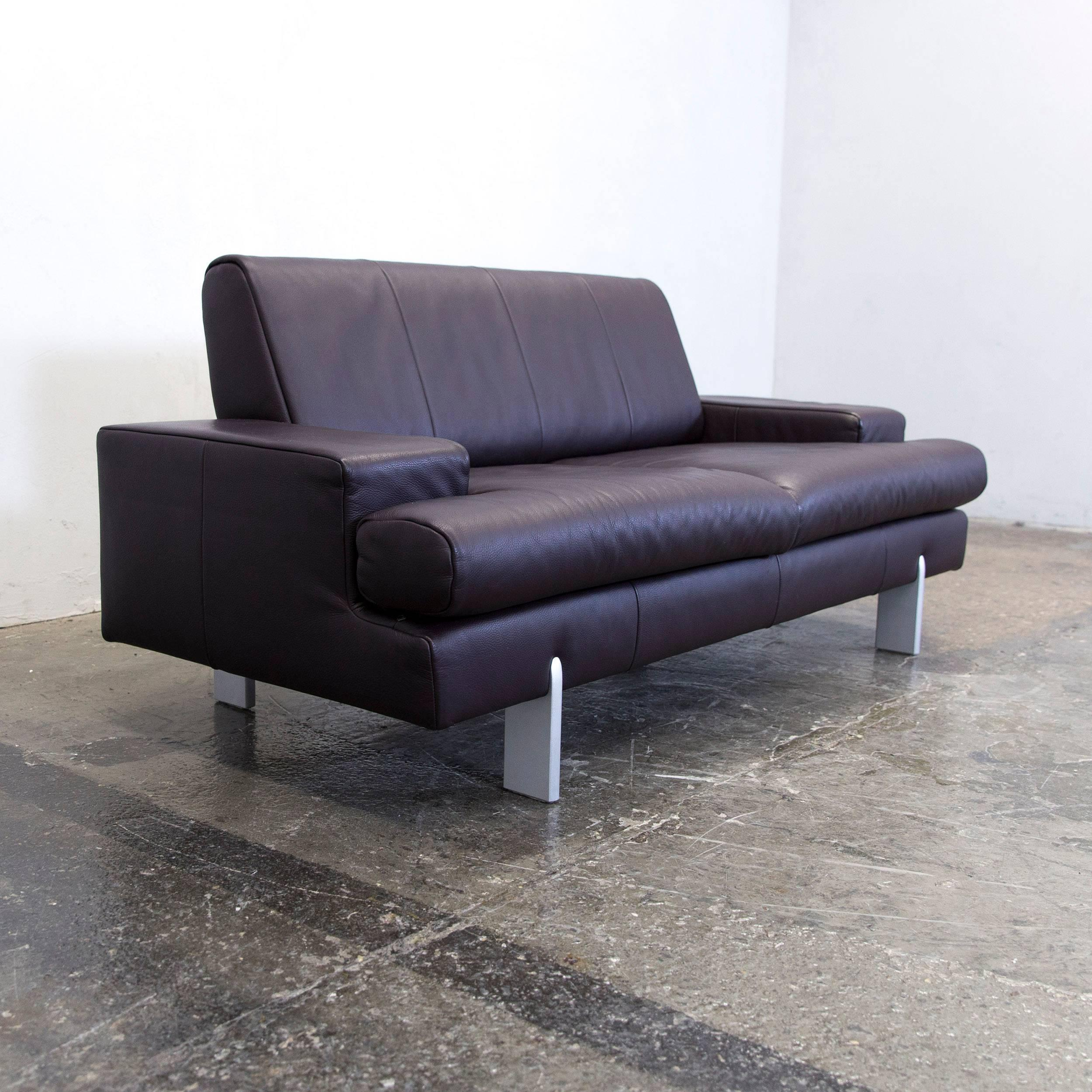 Rolf Benz Designer Leather Sofa Set Aubergine Lilac Purple Two Seat Couch Modern For At 1stdibs