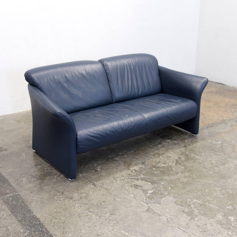 Koinor Designer Sofa Set Leather Dark Blue Two Seat Chair Couch Modern For Sale At 1stdibs