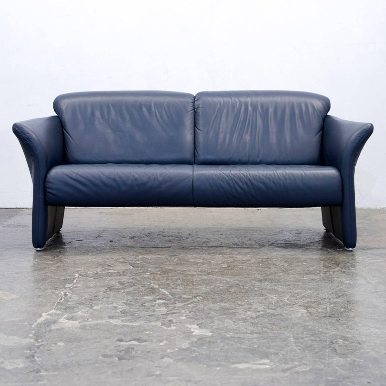 Koinor Designer Sofa Set Leather Dark Blue Two-Seat Chair Couch