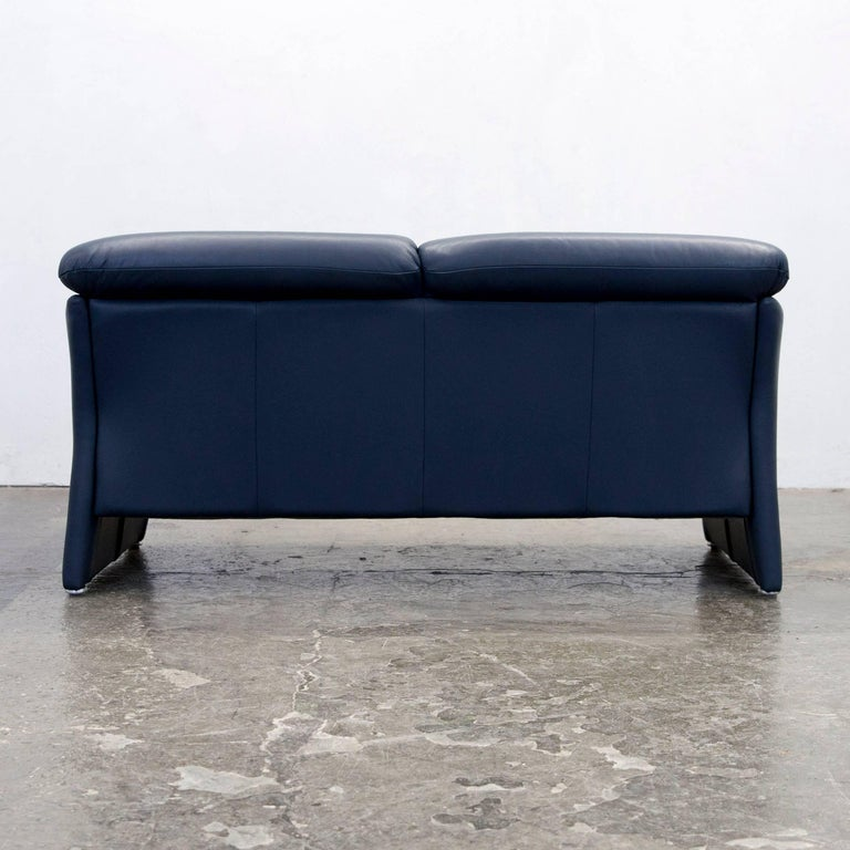 koinor designer sofa leather dark blue couch modern made. Black Bedroom Furniture Sets. Home Design Ideas
