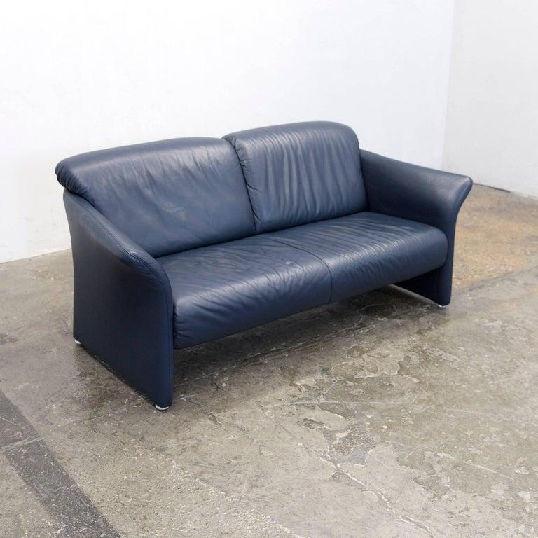 koinor designer sofa leather dark blue couch modern made in germany for sale at 1stdibs. Black Bedroom Furniture Sets. Home Design Ideas