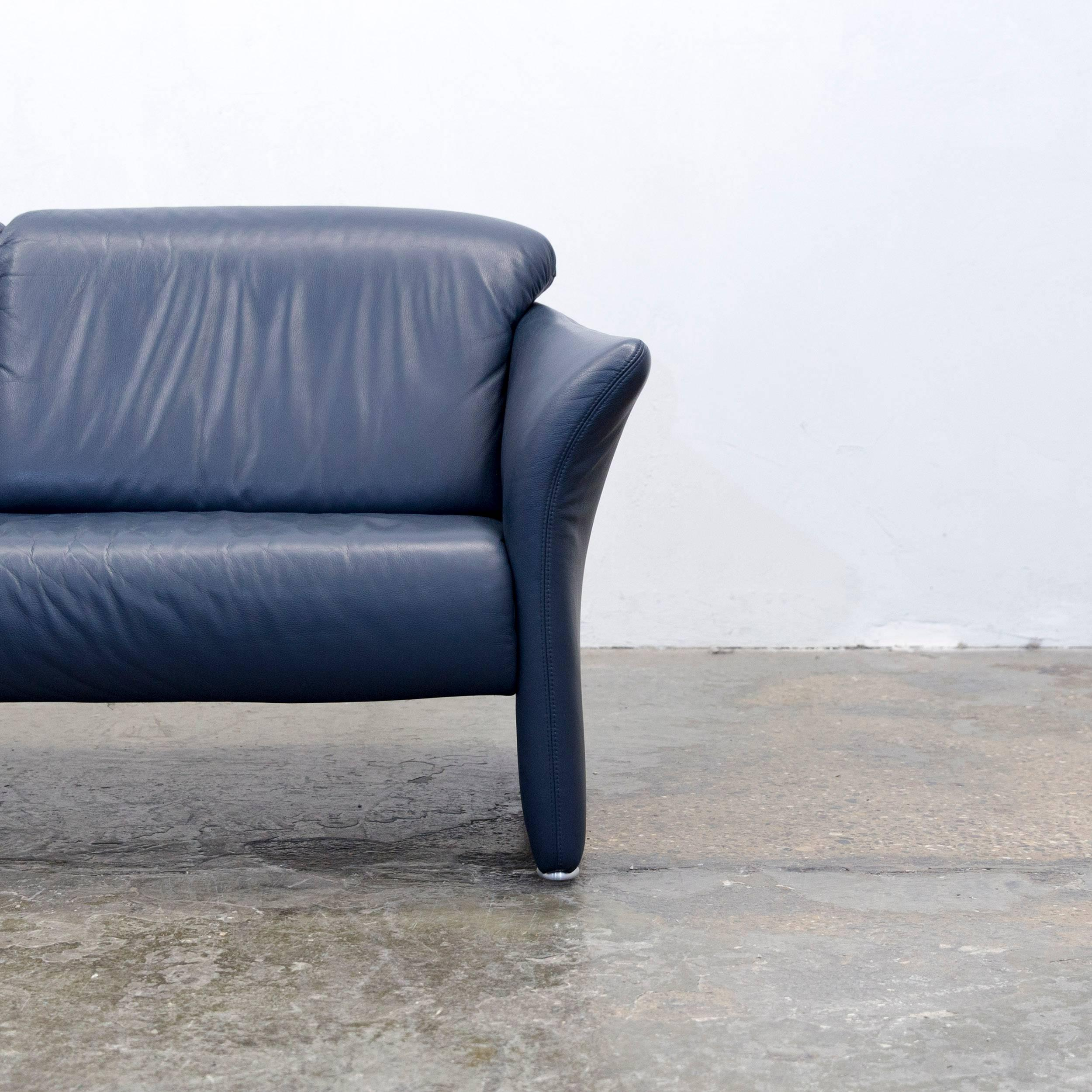 Koinor Designer Sofa Leather Dark Blue Couch Modern Made In Germany In Good  Condition For Sale