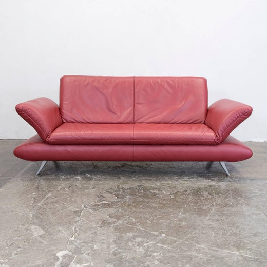 Koinor Rossini Designer Sofa Set Red Full Leather Three-Seat, Two ...