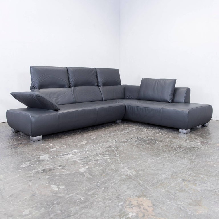 Koinor Volare Leather Corner Sofa Grey Anthracite Function Couch Foot Stool At 1stdibs