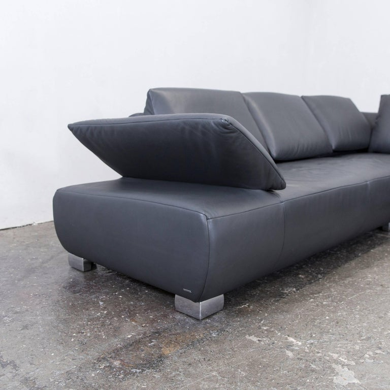 koinor volare leather corner sofa grey anthracite function. Black Bedroom Furniture Sets. Home Design Ideas
