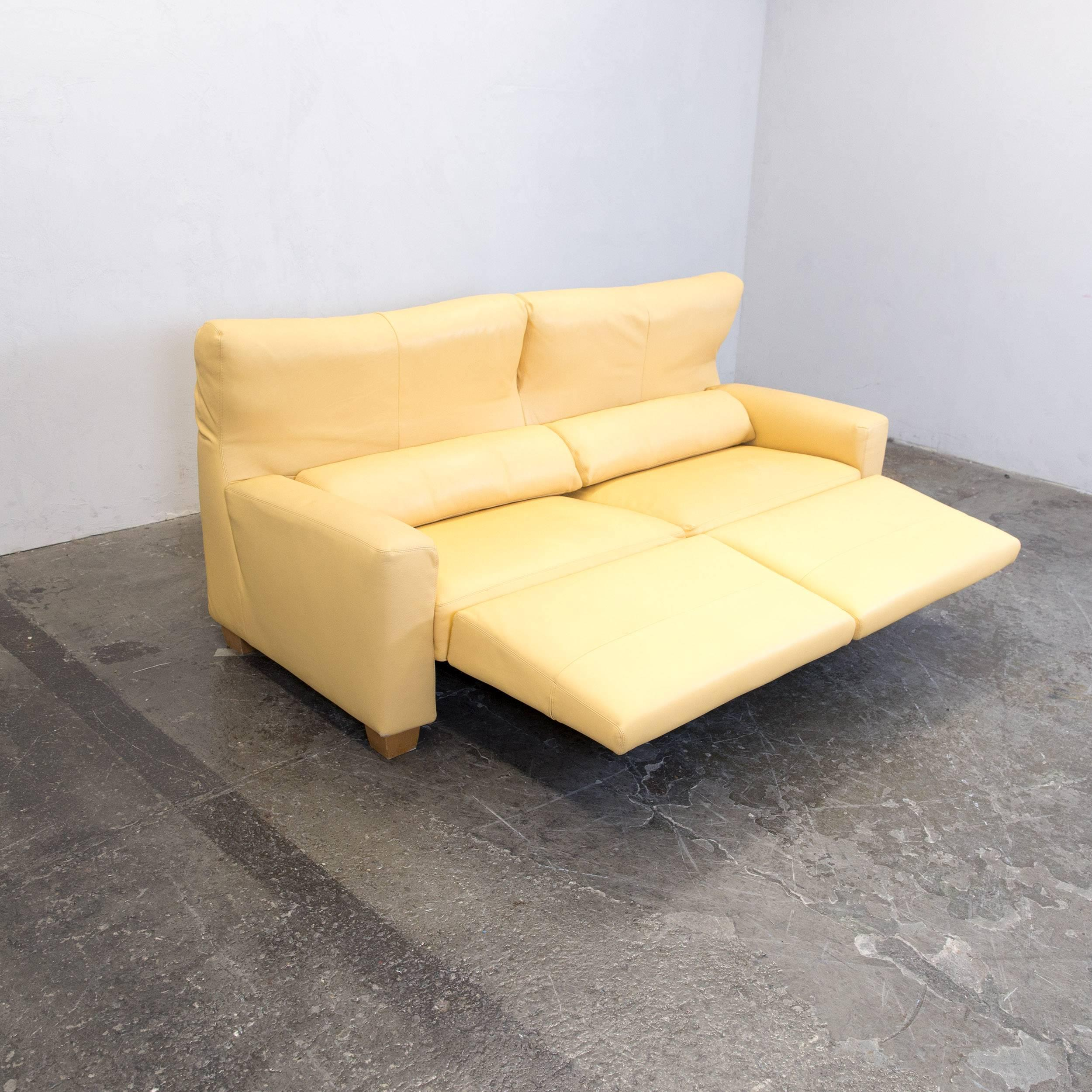 FSM Leather Couch Relax Function Three Seat Sofa Yellow Orange For .