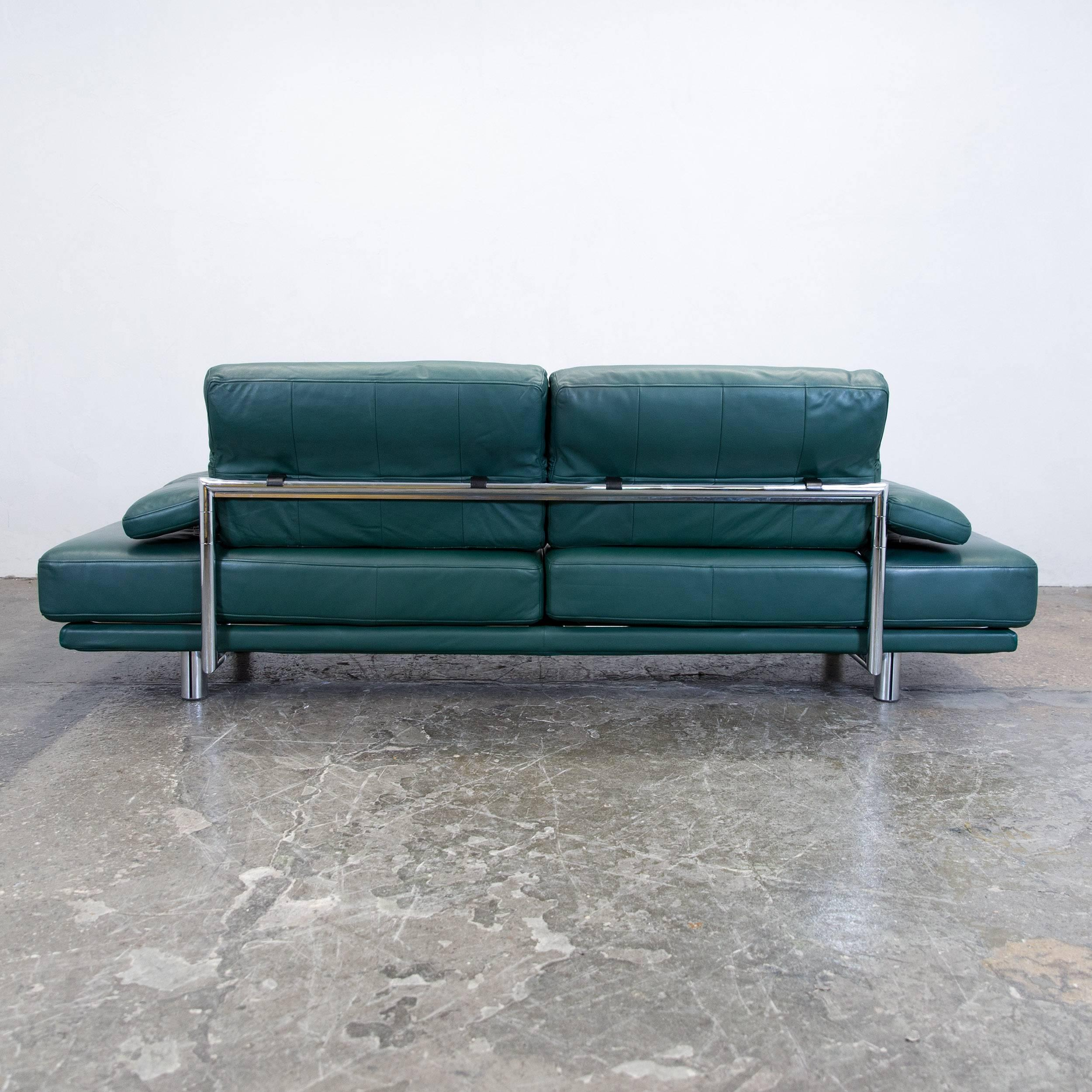 Rolf Benz 2400 Designer Sofa Leather Green Relax Three-Seat Couch ...