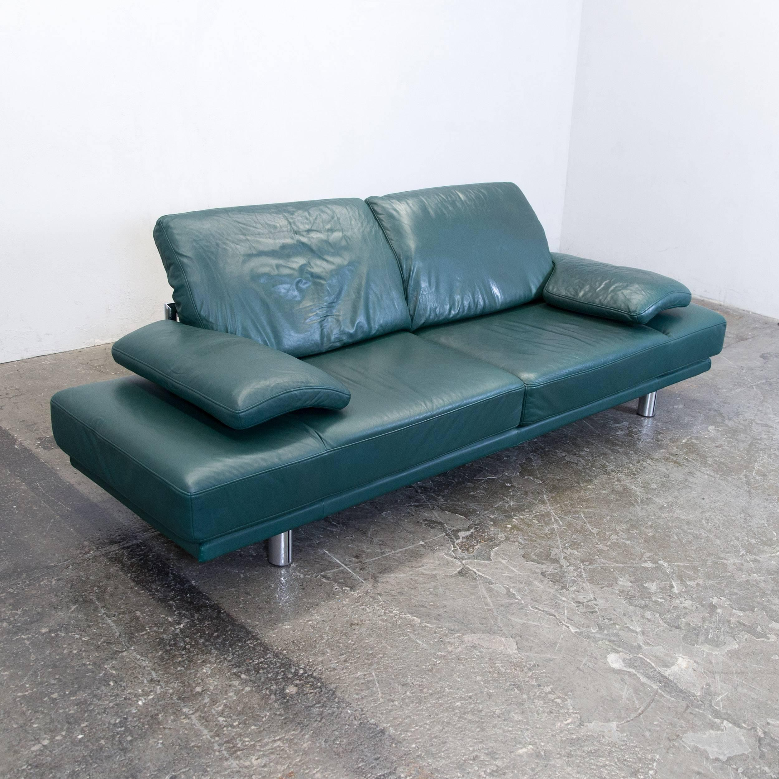 Green Colored Original Rolf Benz Designer Leather Sofa In A Minimalistic  And Modern Design, Made