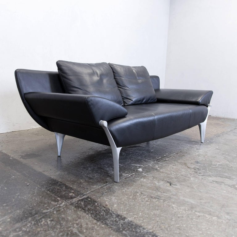 rolf benz sob 1600 designer sofa leather black three seat function couch modern at 1stdibs. Black Bedroom Furniture Sets. Home Design Ideas
